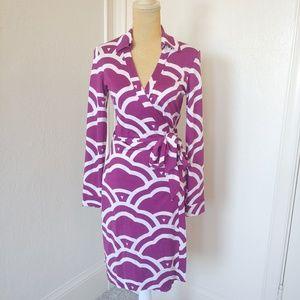 Diane Von Furstenberg silk print wrap dress.